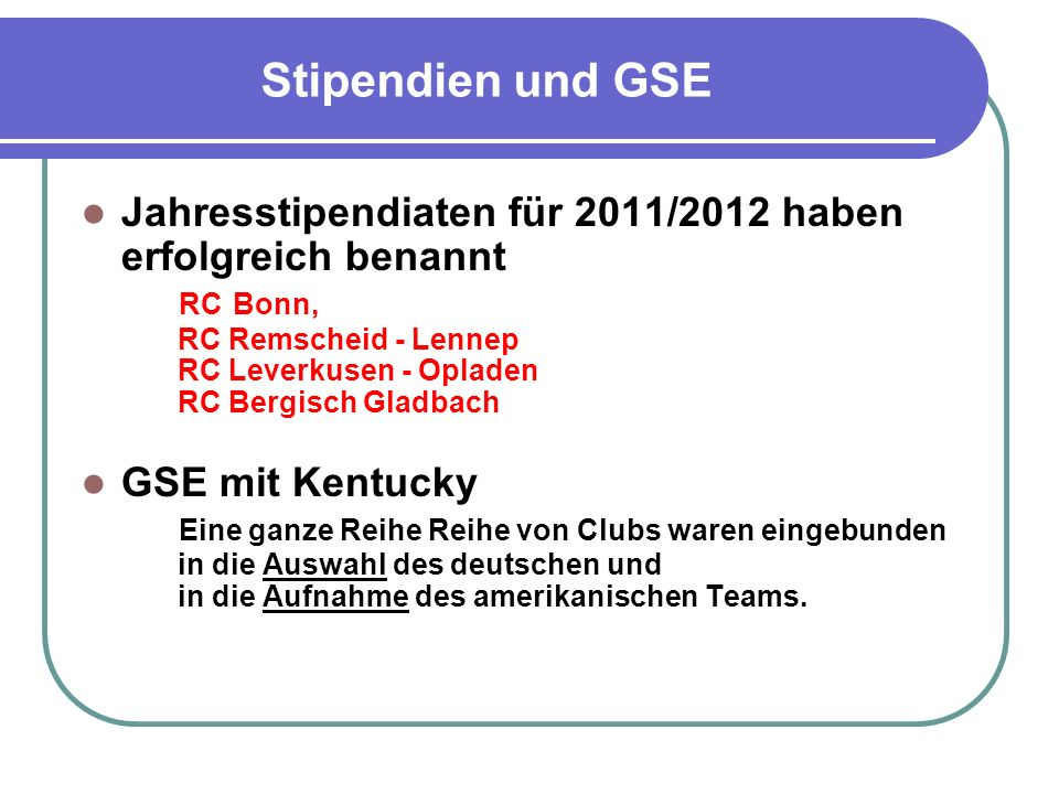 Stipendien und GSE