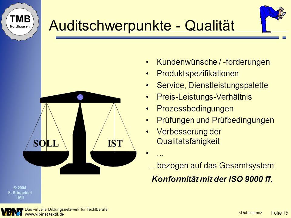 Auditschwerpunkte - Qualität