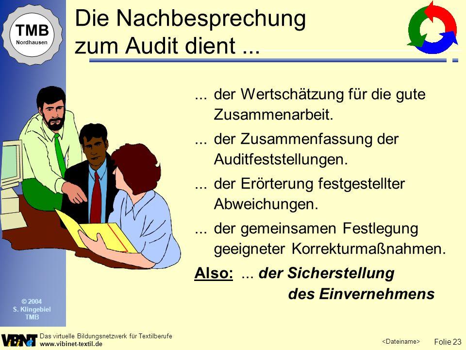 Die Nachbesprechung zum Audit dient ...