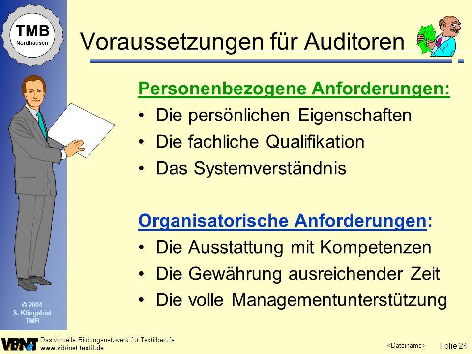 Voraussetzungen für Auditoren