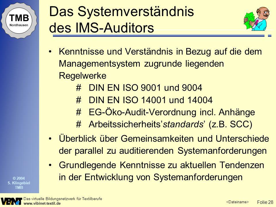 Das Systemverständnis des IMS-Auditors