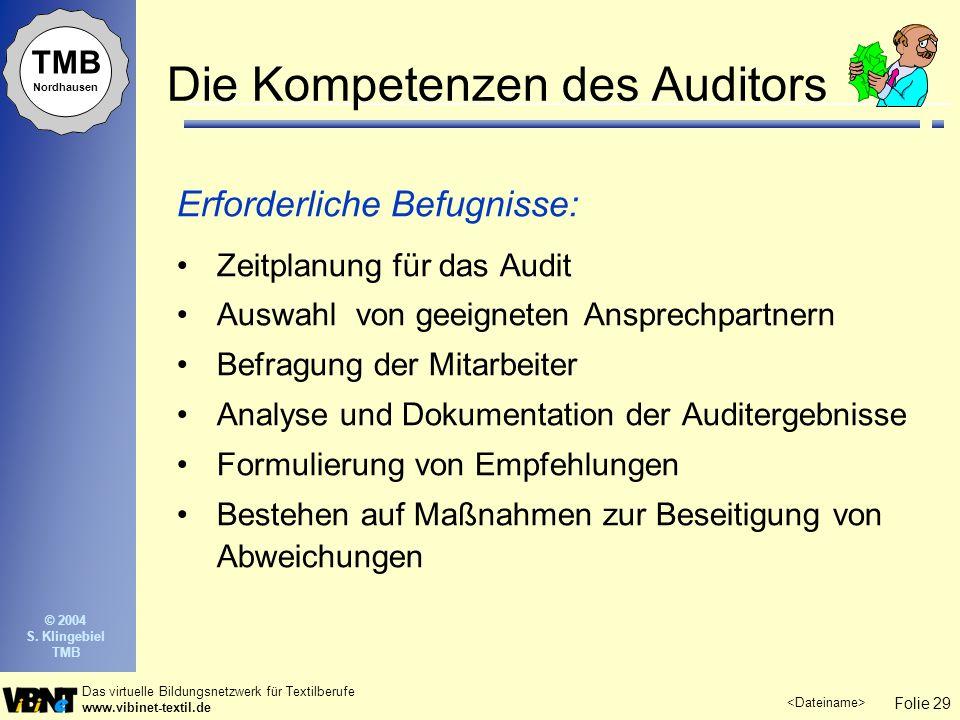 Die Kompetenzen des Auditors