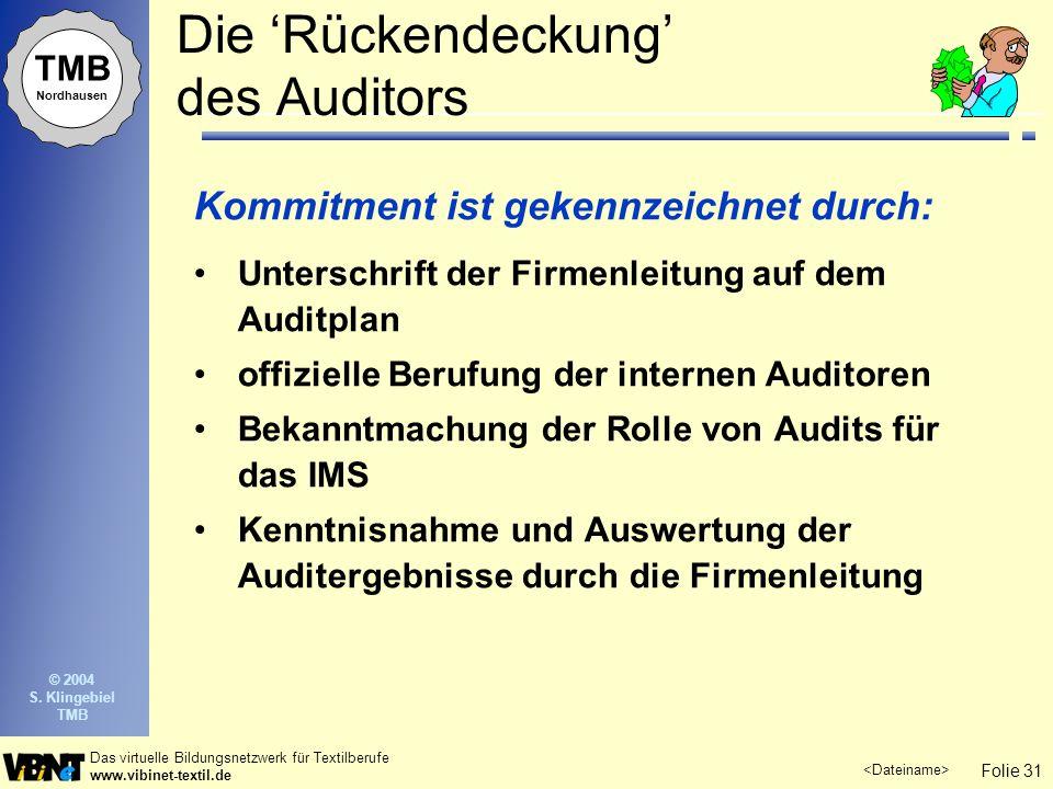 Die 'Rückendeckung' des Auditors
