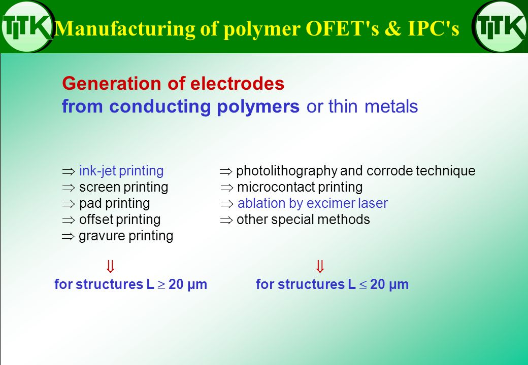 Manufacturing of polymer OFET s & IPC s