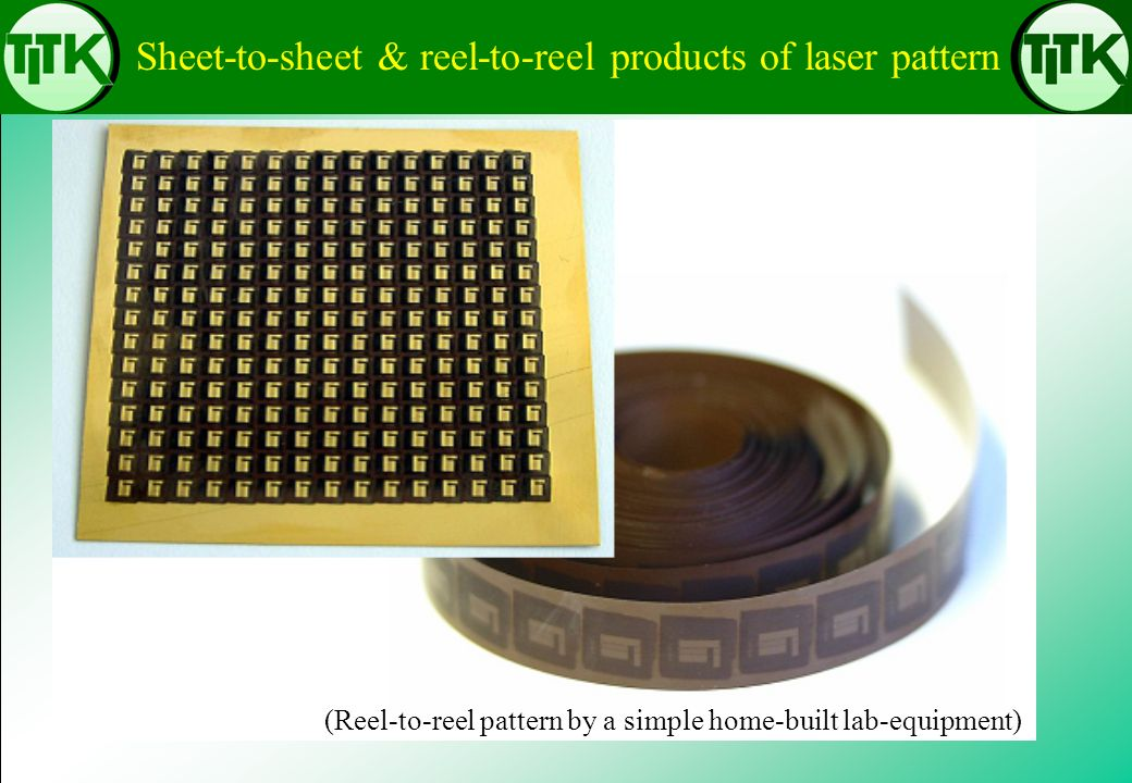 Sheet-to-sheet & reel-to-reel products of laser pattern