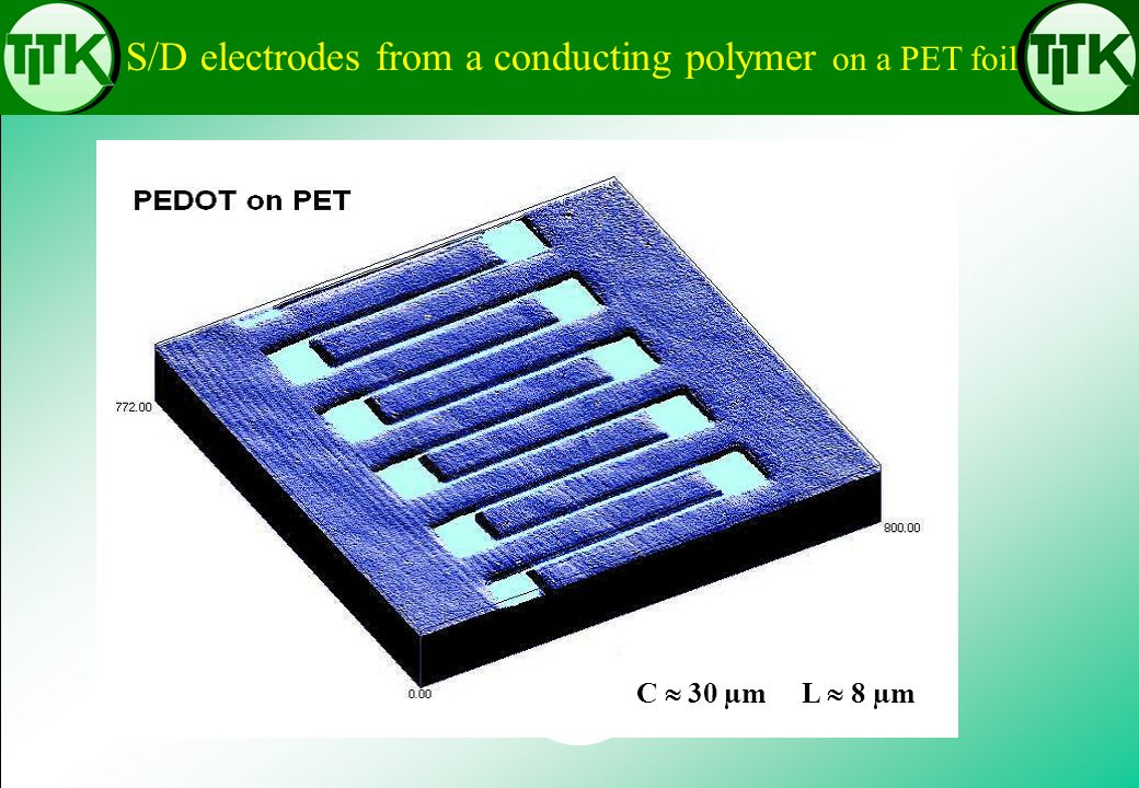 S/D electrodes from a conducting polymer on a PET foil