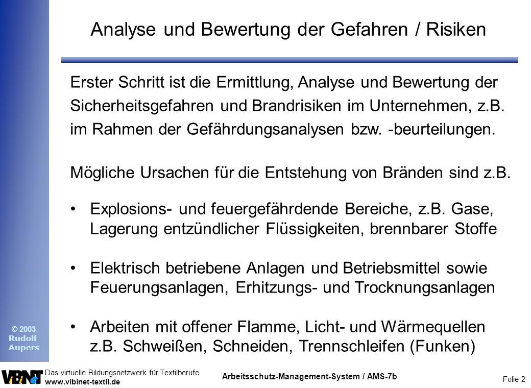 Analyse und Bewertung der Gefahren / Risiken