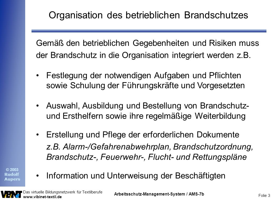 Organisation des betrieblichen Brandschutzes