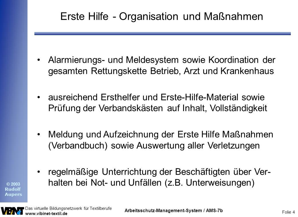 Erste Hilfe - Organisation und Maßnahmen