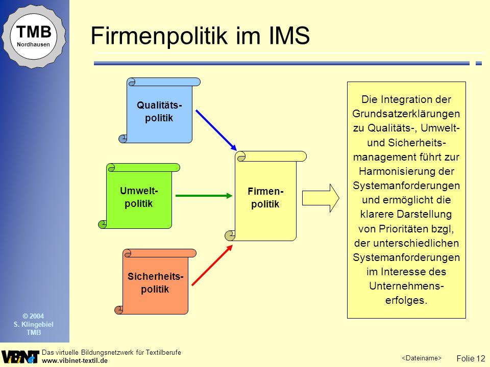 Firmenpolitik im IMS Qualitäts-politik.