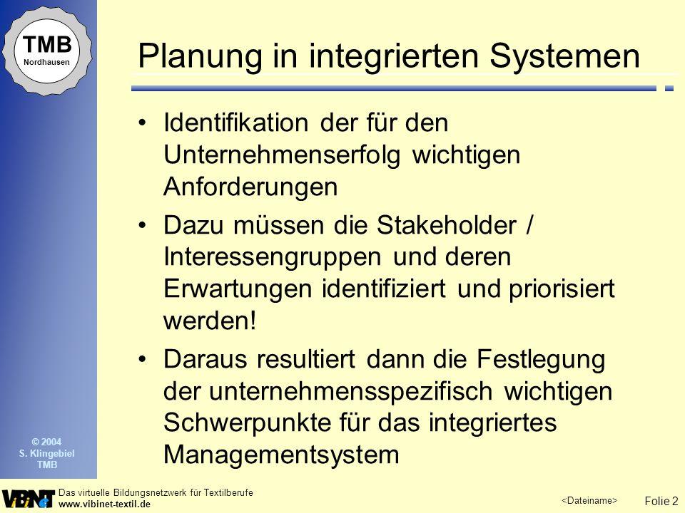Planung in integrierten Systemen