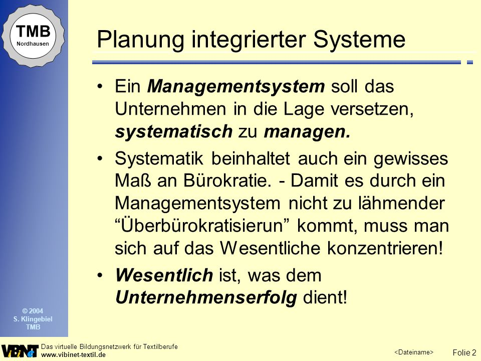 Planung integrierter Systeme