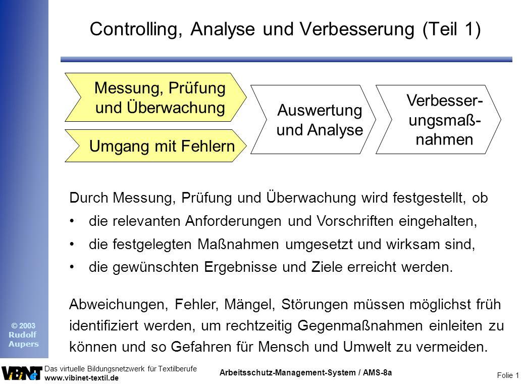 Controlling, Analyse und Verbesserung (Teil 1)