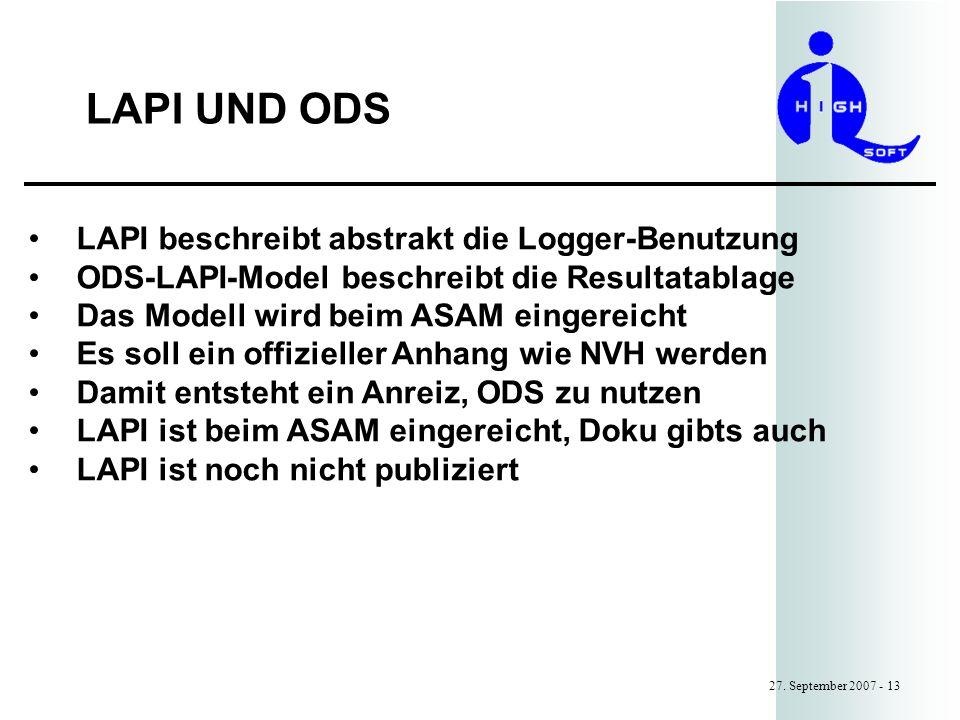 LAPI UND ODS LAPI beschreibt abstrakt die Logger-Benutzung