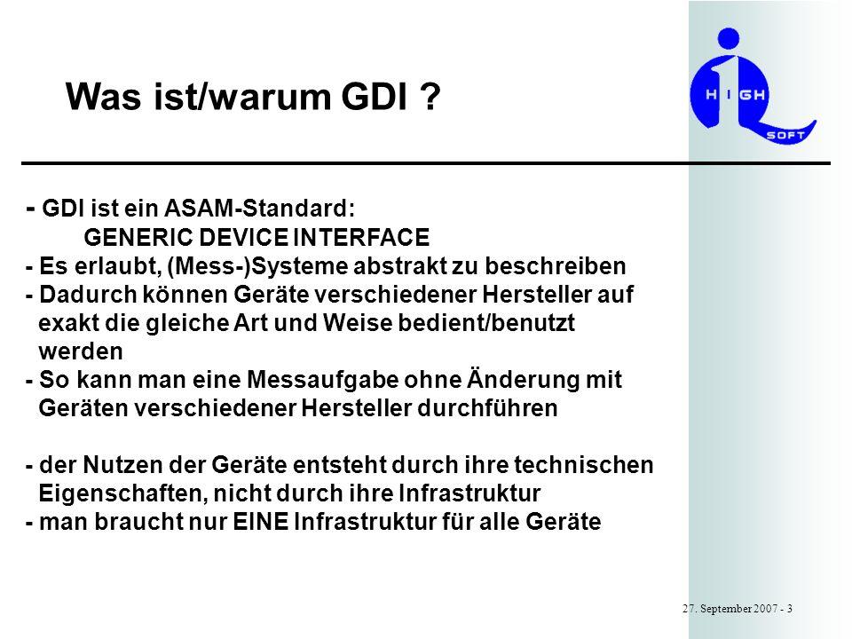 Was ist/warum GDI - GDI ist ein ASAM-Standard:
