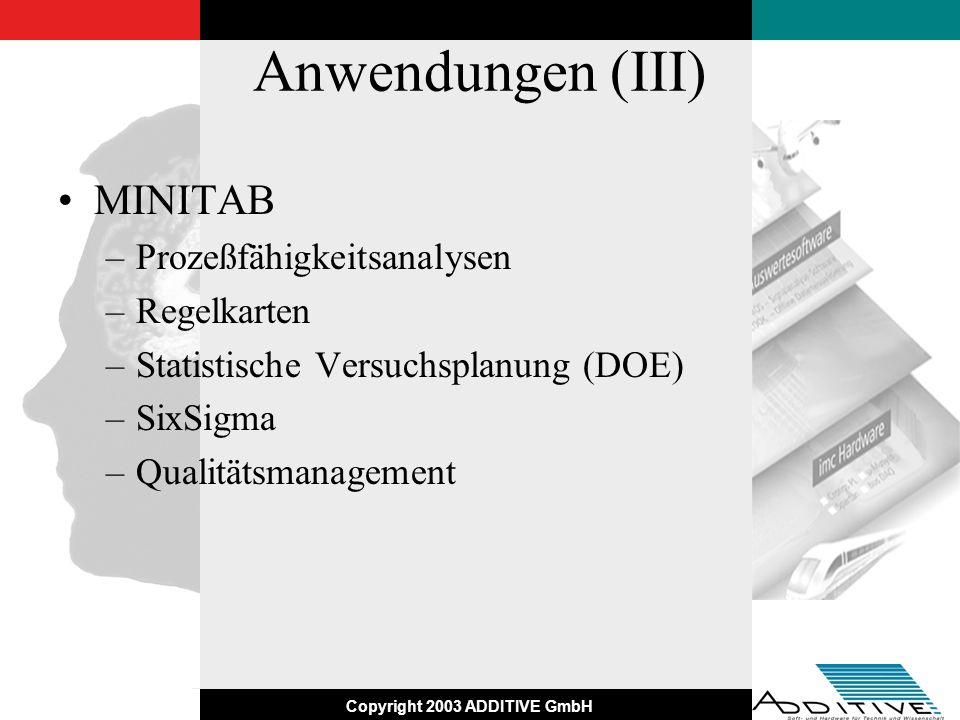 Anwendungen (III) MINITAB Prozeßfähigkeitsanalysen Regelkarten