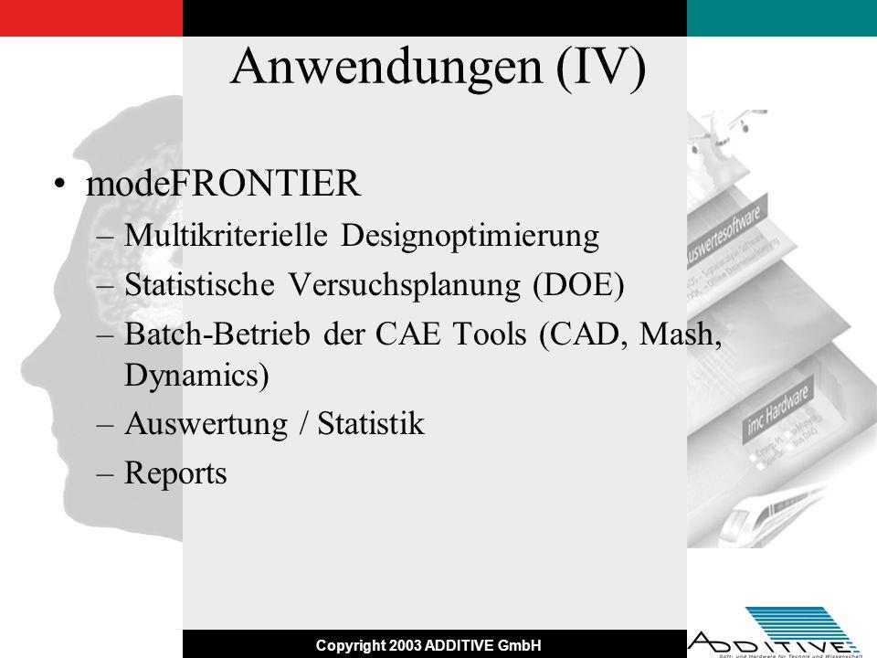 Anwendungen (IV) modeFRONTIER Multikriterielle Designoptimierung