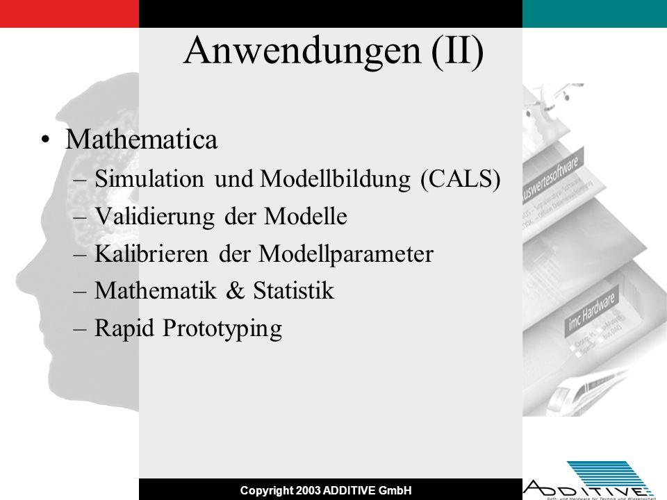 Anwendungen (II) Mathematica Simulation und Modellbildung (CALS)