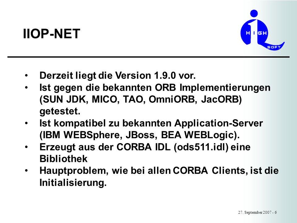 IIOP-NET Derzeit liegt die Version 1.9.0 vor.