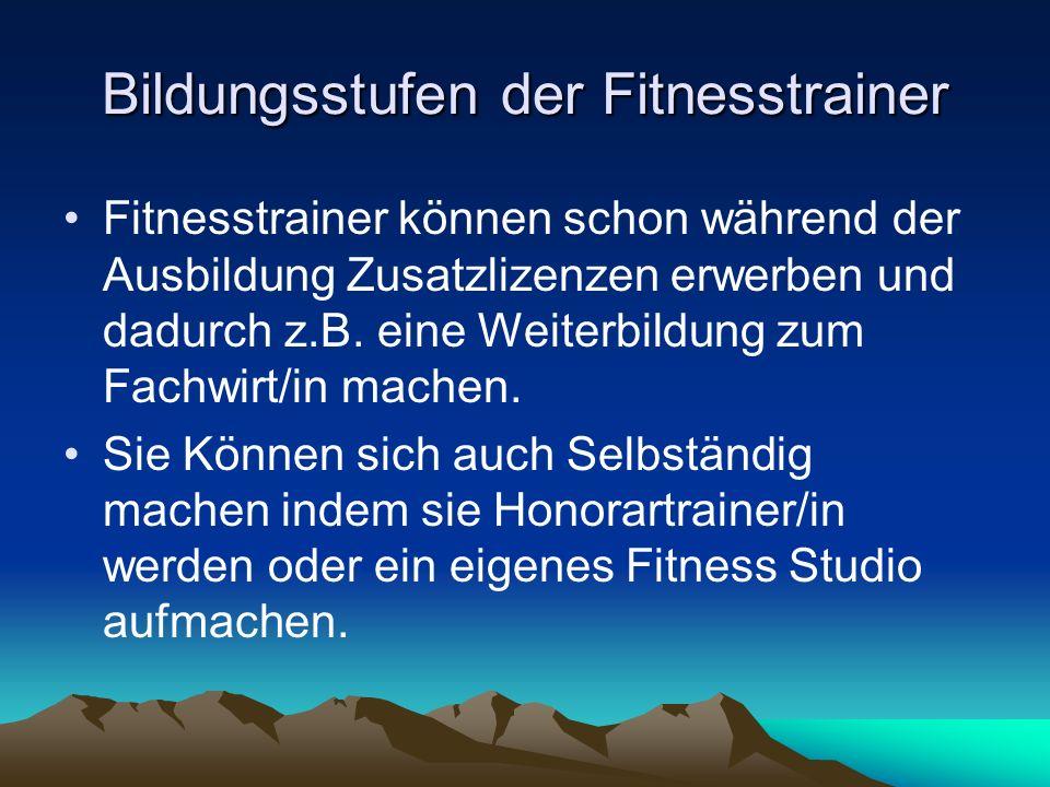 Bildungsstufen der Fitnesstrainer