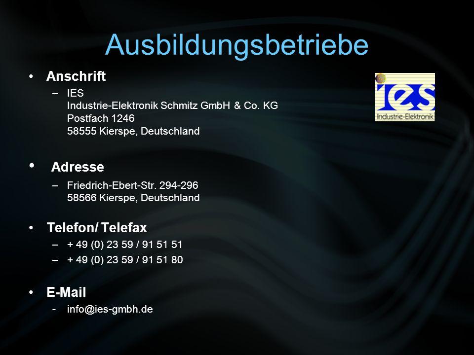 Ausbildungsbetriebe Adresse Anschrift Telefon/ Telefax E-Mail