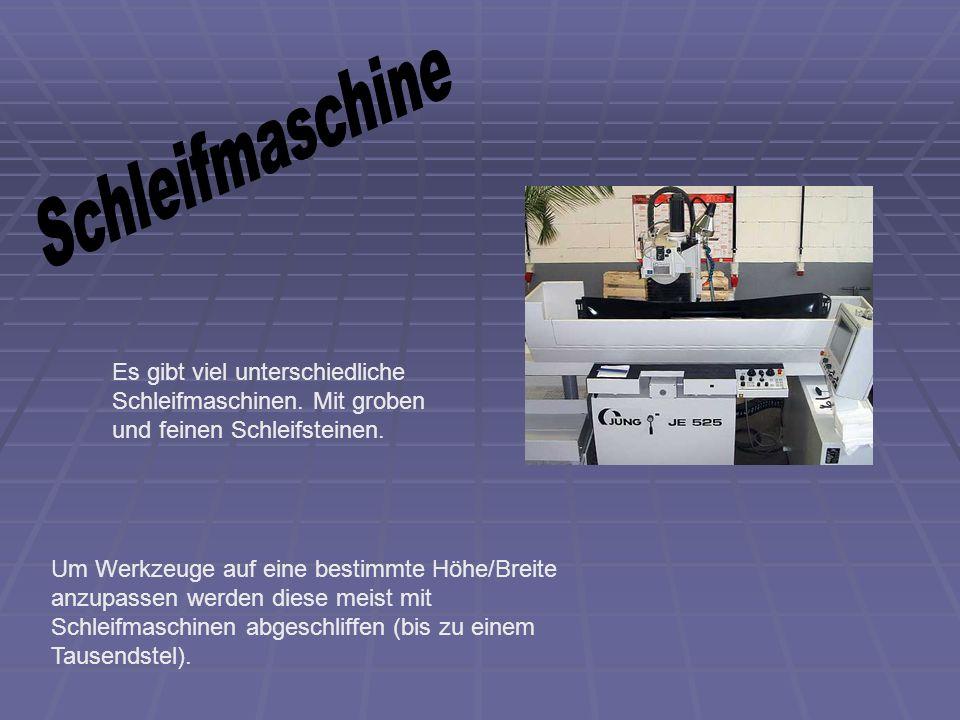 Schleifmaschine Es gibt viel unterschiedliche Schleifmaschinen. Mit groben und feinen Schleifsteinen.