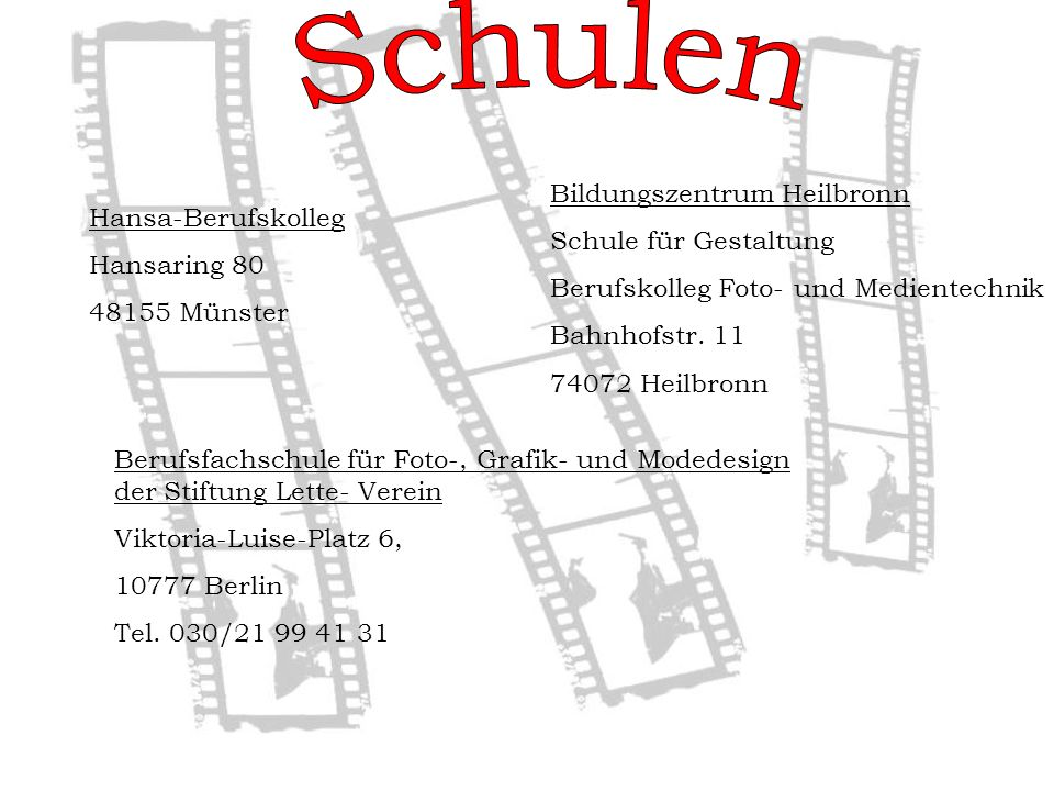 Schulen Bildungszentrum Heilbronn Schule für Gestaltung