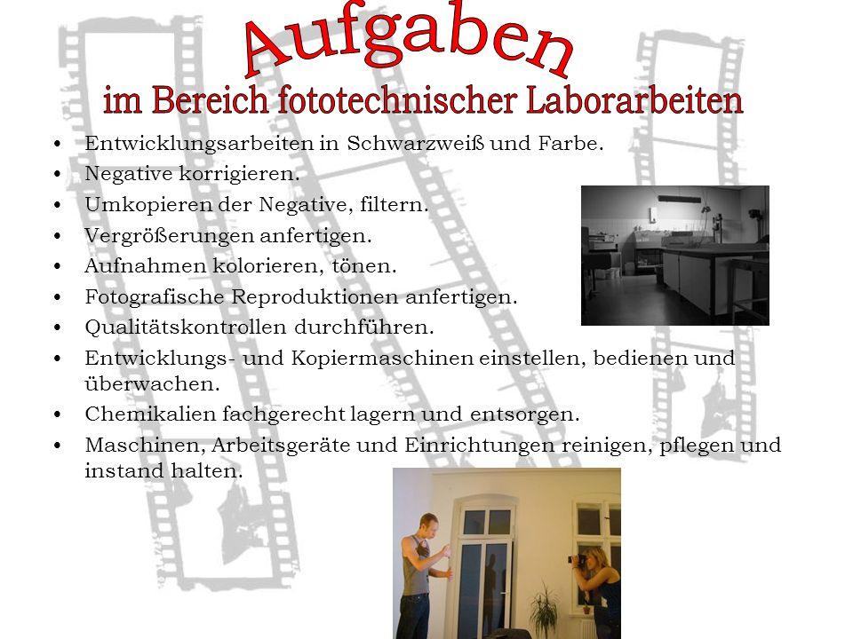 im Bereich fototechnischer Laborarbeiten