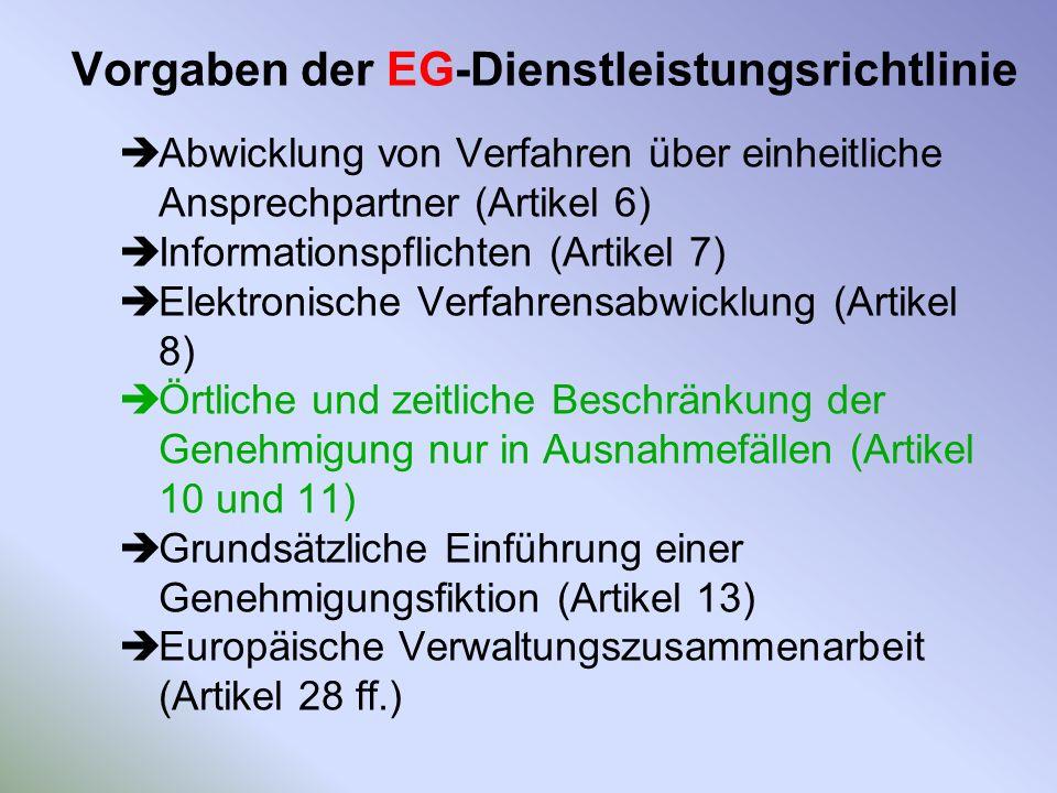 Vorgaben der EG-Dienstleistungsrichtlinie