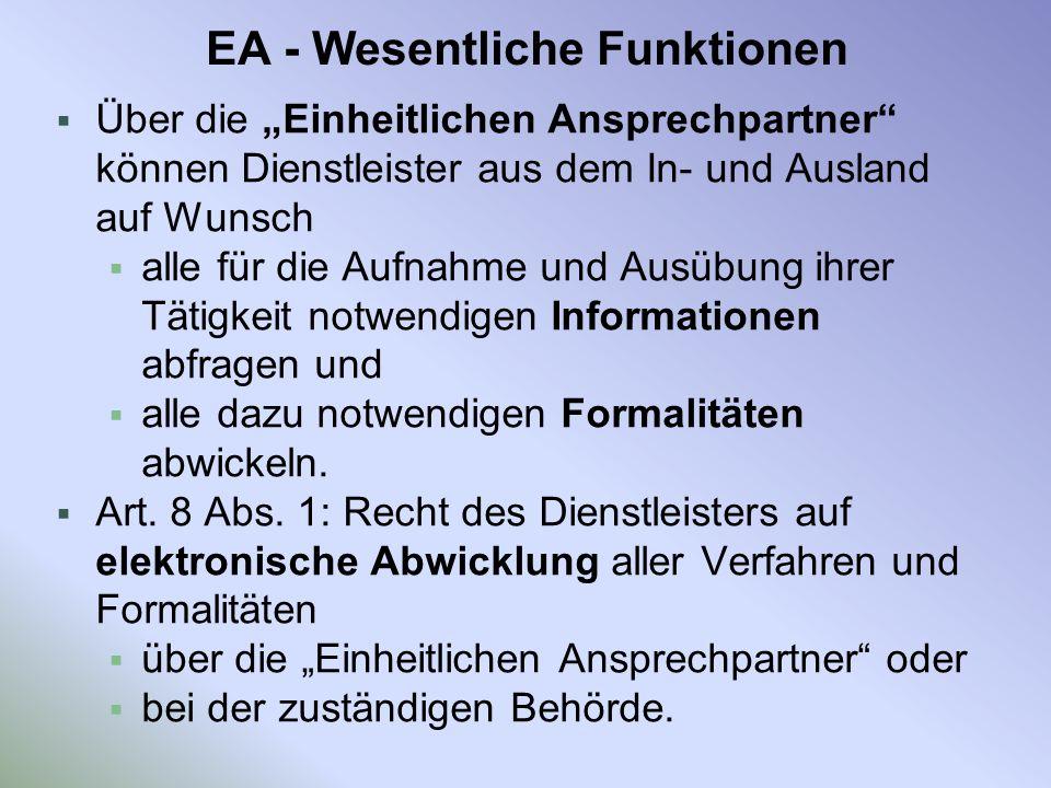 EA - Wesentliche Funktionen
