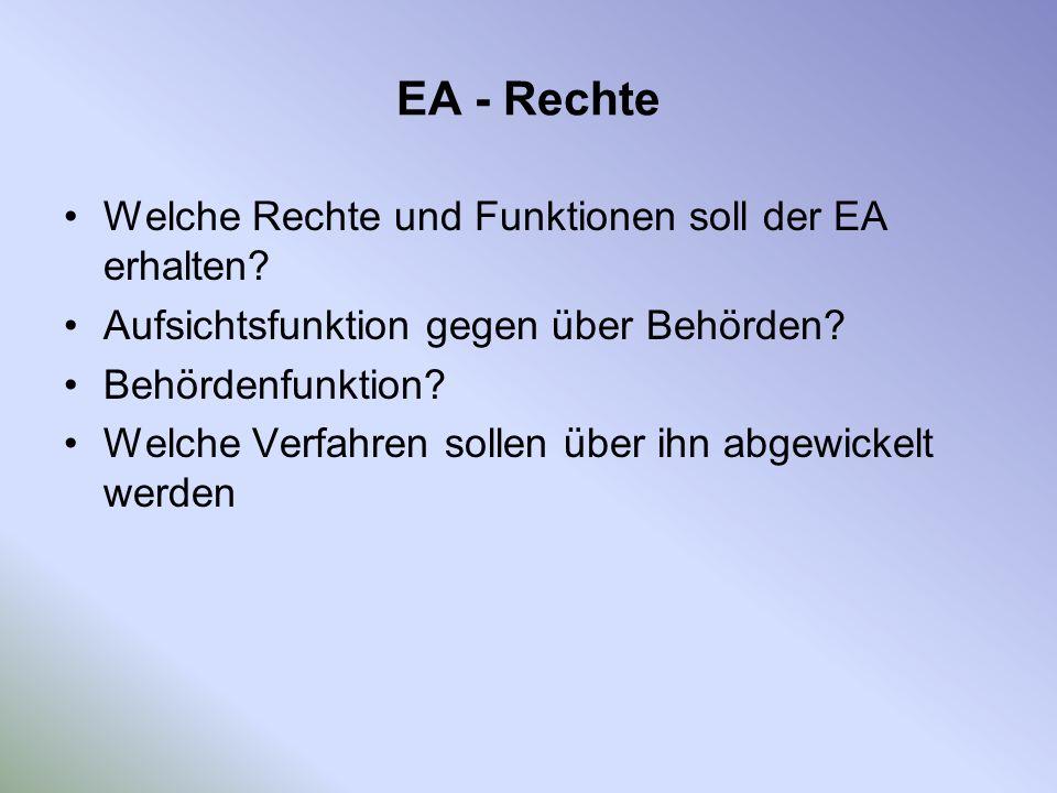 EA - Rechte Welche Rechte und Funktionen soll der EA erhalten