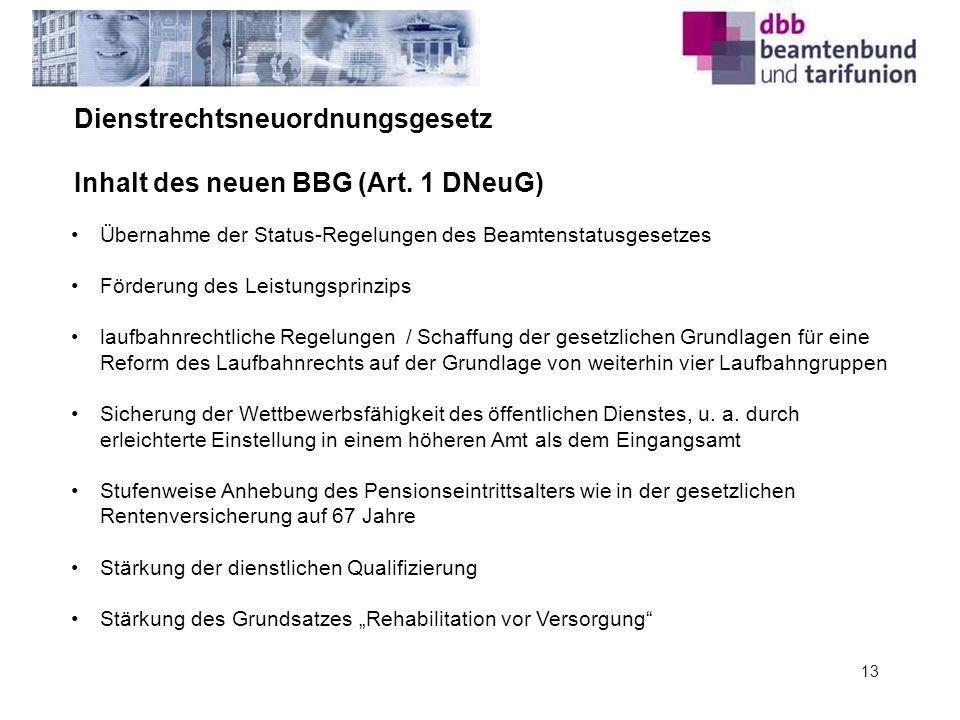 Dienstrechtsneuordnungsgesetz Inhalt des neuen BBG (Art. 1 DNeuG)
