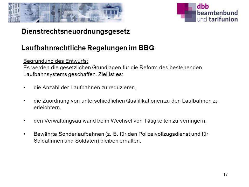 Dienstrechtsneuordnungsgesetz Laufbahnrechtliche Regelungen im BBG
