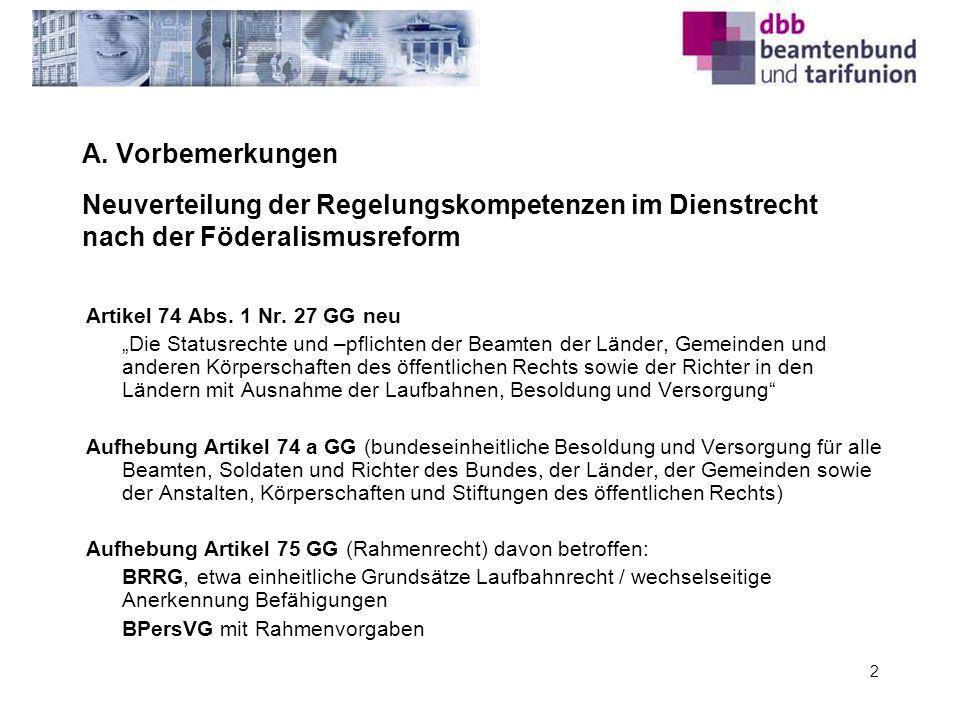 A. Vorbemerkungen Neuverteilung der Regelungskompetenzen im Dienstrecht nach der Föderalismusreform