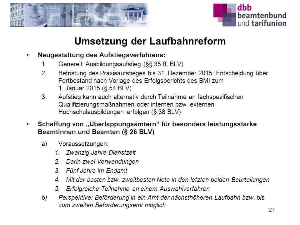 Umsetzung der Laufbahnreform