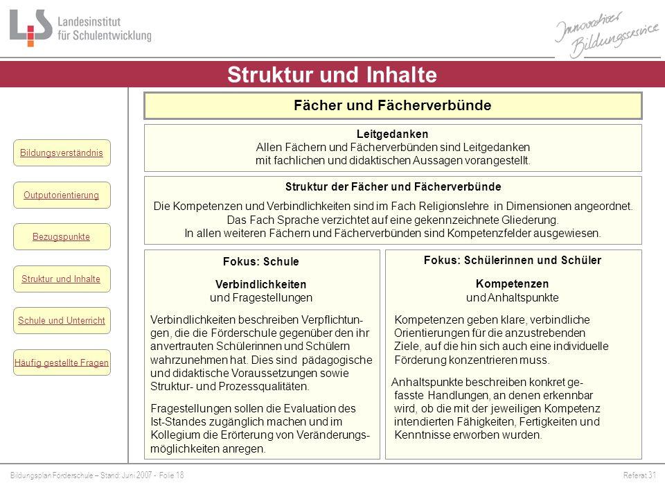 Struktur und Inhalte Fächer und Fächerverbünde Leitgedanken