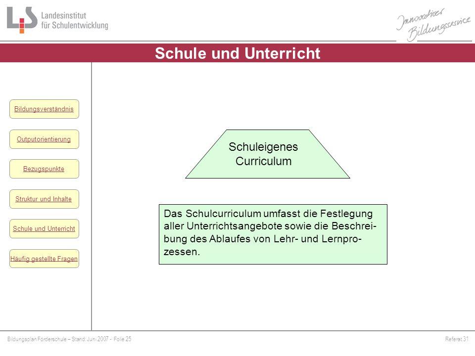 Schule und Unterricht Schuleigenes Curriculum