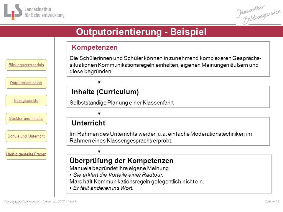 Outputorientierung - Beispiel