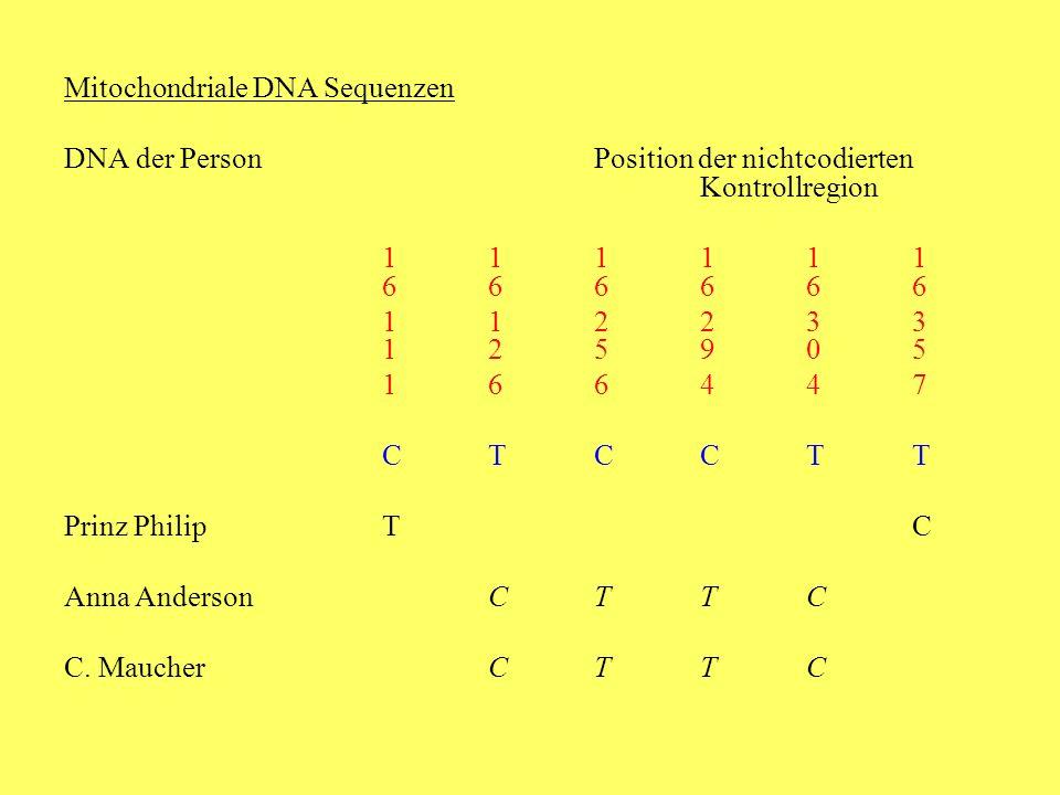 Mitochondriale DNA Sequenzen