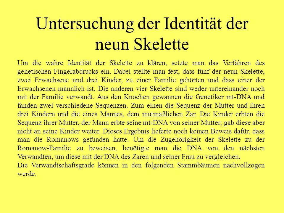Untersuchung der Identität der neun Skelette