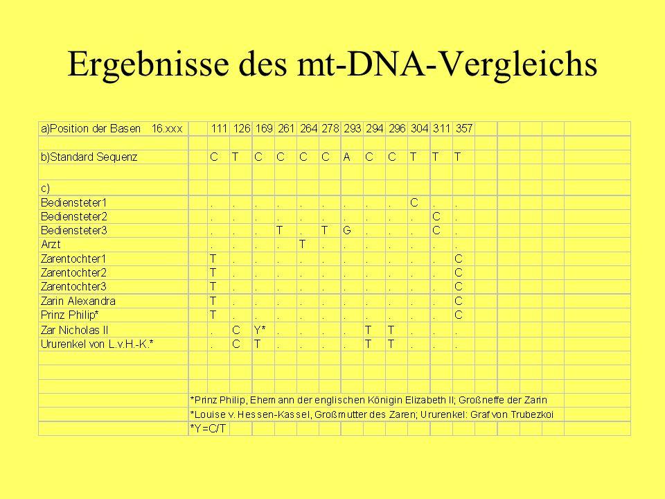 Ergebnisse des mt-DNA-Vergleichs