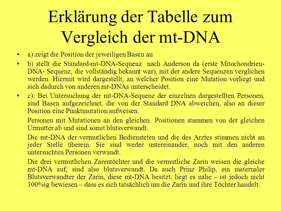 Erklärung der Tabelle zum Vergleich der mt-DNA
