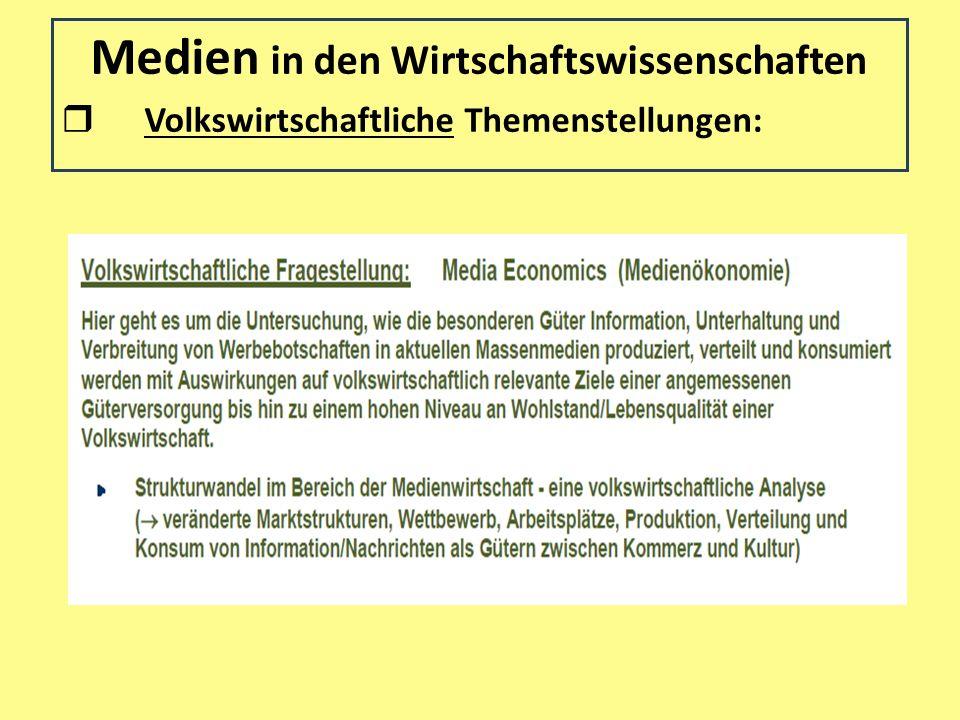 Medien in den Wirtschaftswissenschaften