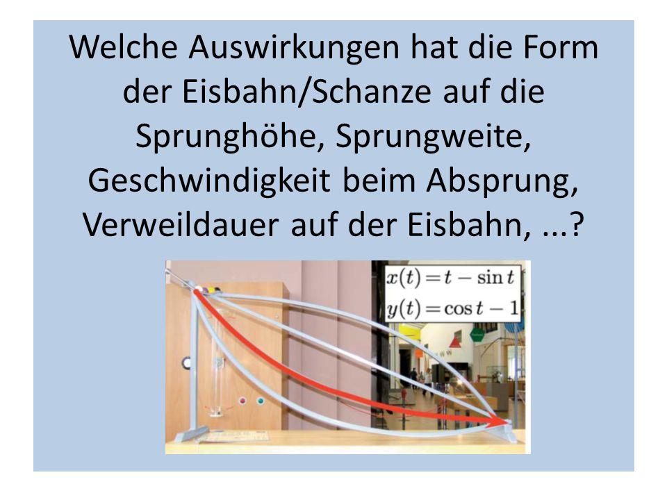 Welche Auswirkungen hat die Form der Eisbahn/Schanze auf die Sprunghöhe, Sprungweite, Geschwindigkeit beim Absprung, Verweildauer auf der Eisbahn, ...