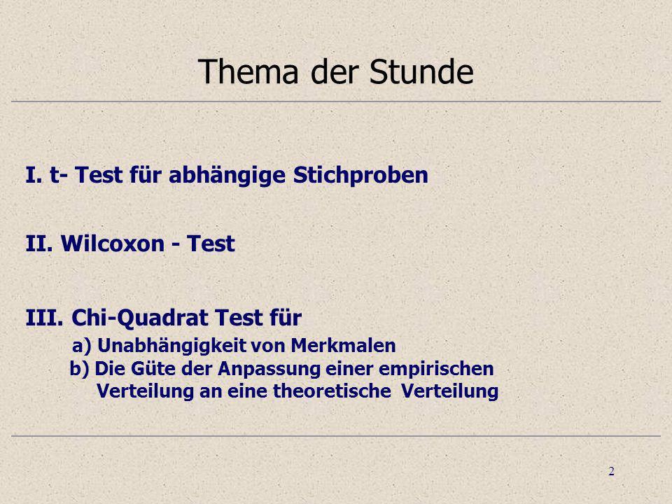 Thema der Stunde I. t- Test für abhängige Stichproben