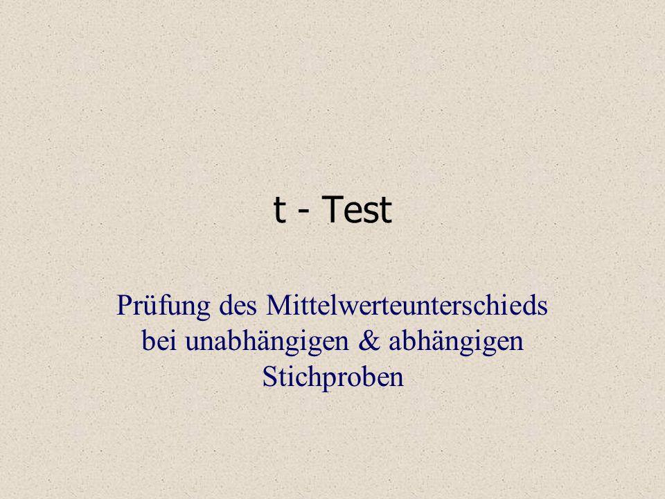 t - Test Prüfung des Mittelwerteunterschieds bei unabhängigen & abhängigen Stichproben
