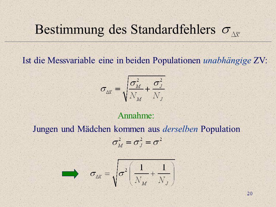 Bestimmung des Standardfehlers