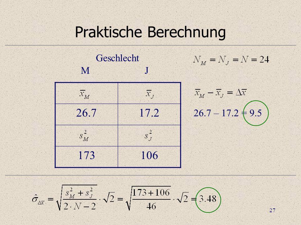 Praktische Berechnung