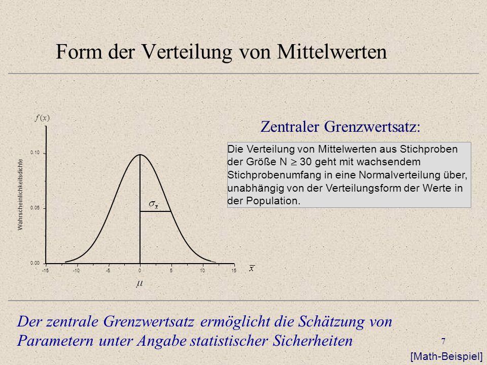 Form der Verteilung von Mittelwerten