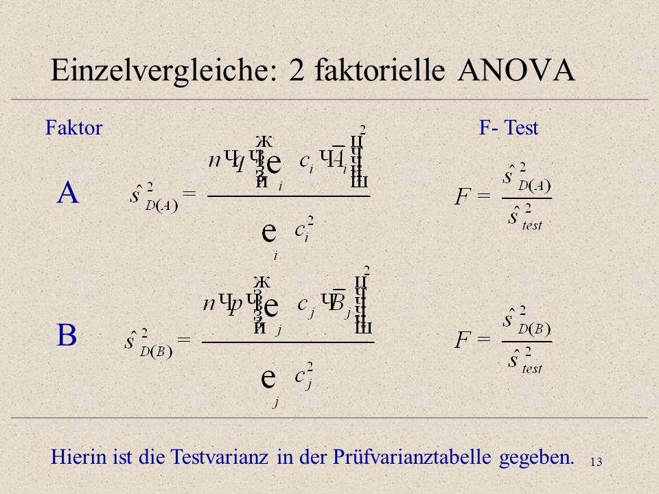 Einzelvergleiche: 2 faktorielle ANOVA